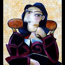 Woman with Black Hair | 2015 | Oil painting | Erik Renssen (NL.1960)