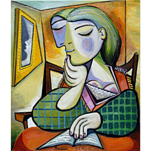 Woman Reading at a Table | 2016 | Oil painting | Erik Renssen (NL.1960)
