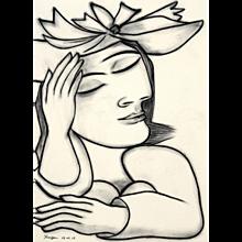 Woman Daydreaming | 2016 | Charcoal drawing | Erik Renssen (NL.1960)