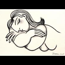 Sleeping Nude | 2016 | Charcoal drawing | Erik Renssen (NL.1960)