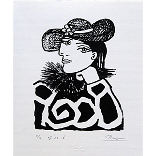 Lady in a Straw Hat with Flower II | 2016 | Lithograph | Erik Renssen (NL. 1960)