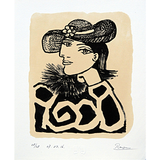 Lady in a Straw Hat with a Flower III | 2016 | Lithograph | Erik Renssen (NL. 1960)