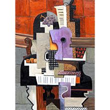 Guitar, bottle, mug, fruit and grapes on a piano | 2016 | Oil painting | Erik Renssen (NL.1960)