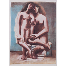 Two Nudes, Pablo Picasso | Hand Colored Pochoir