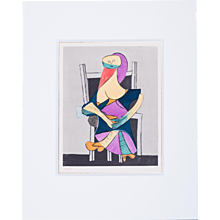 Woman in Chair, Pablo Picasso   Hand Colored Pochoir