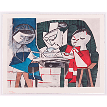 The Meal, Pablo Picasso   Hand Colored Pochoir