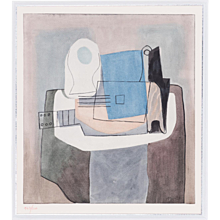 Still life with Guitar, Pablo Picasso   Hand Colored Pochoir