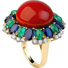 Coral Ring with Diamonds, Sapphires, & Emeralds
