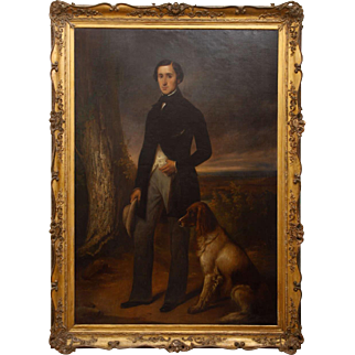 19th Century Noterman painting , Lord and his dog