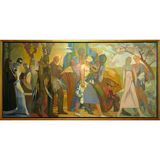 "Belgian Antwerp Art Deco painting ""4 seasons"" by Jos Desmedt (1894)"