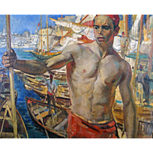 Dutch dock labourer in Smyrna painting by Grauss, 19th century