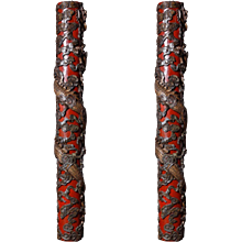 Pair of polychrome Chinese dragon columns, Shangai 1895