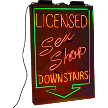 "Vintage Licensed ""Sex Shop"" Neon Sign, Glass Mounted"