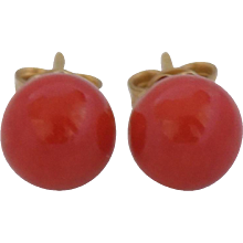 18kt Gold Red Coral Earrings