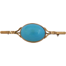 18kt Gold turquoise Pin