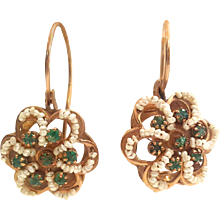 1950s 12kt Gold Earrings with pearls and emerald