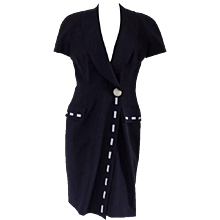 1970s Fendi blu white dress