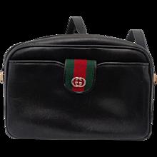 1970s Gucci black leather Shoulder Bag