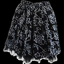 1970s Liliana Sanguinetti Black Silver Skirt