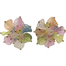1970s Vintage flowers clip on earrings