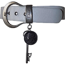1980s Christian Dior white leather key coin belt