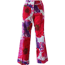 1980s Dolce & Gabbana multicolour Pants painted stamp red and purple tone
