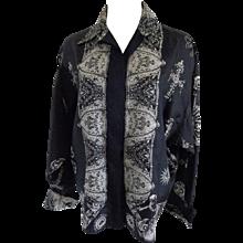1980s Gianni Versace Black White Silk Shirt