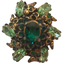 1980s Hollycraft green Ring
