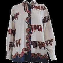1980s Luca Giordani Cream Multicolour Belts Shirt