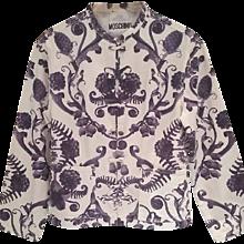 1980s Moschino white and blu jacket