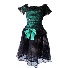 1980s Peter Keppler couture Green black dress