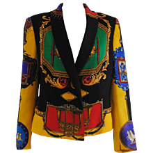 1980s RARE Istante By Gianni Versace Wool Print Jacket