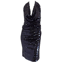 1980s Sequins black dress