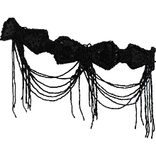 1980s Unknown Black Beads and Sequins Belt Bows