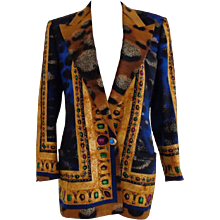1985 Istante by Gianni Versace Blu Gold Wool Jacket