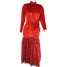 1985 Alberta Ferretti Red Velvet Voland Skirt Long Dress