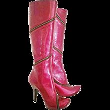 1990s Alexander McQueen unworn red vernish boots