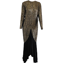1990s Annalisa Ferro Gold Black Long Dress