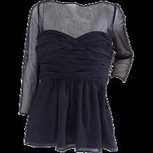 1990s Burberry black see through shirt