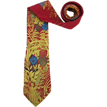 1990s Fendi red leaves tie