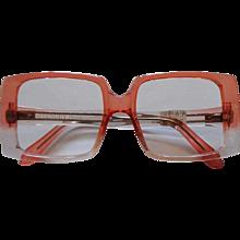 1990s Givenchy See Through Peach Crystal Frame