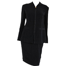 1990s Gucci Black Silk Skirt Suits