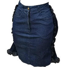 1990s Iconic Moschino Faux-Cul denim Mini Skirt