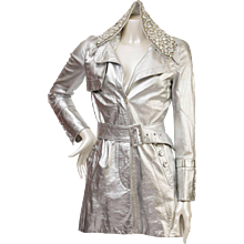 1990s John Galliano Silver Metallic Jacket With Swarovski