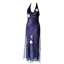 1990s Versace Jeans Couture Black long dress with flowers
