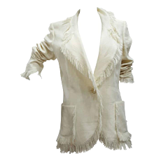 2000s Emanuel Ungaro Linen Cream JAcket with fringes