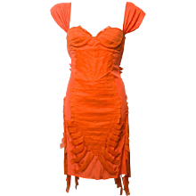 2000s Gucci Orange Dress  silk pleated fringe sleeveless sheath cocktail dress.