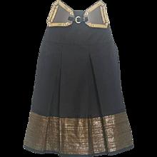 2000s Roberto Cavalli black skirt with gold belt