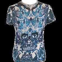 Alexander McQueen Blu Skull T-Shirt
