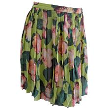 Blumarine Green Flowers Skirt